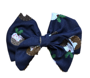Christmas Pudding Print Cotton Hair Bow Clip
