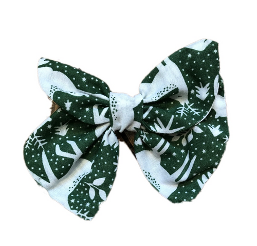 Christmas Green Reindeer Print Cotton Hair Bow Clip