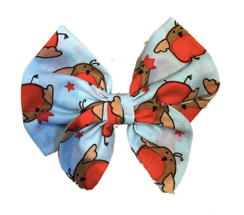 Christmas Robin Print Cotton Hair Bow Clip