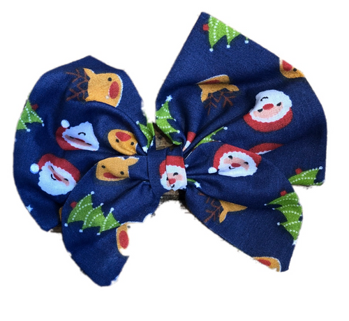 Christmas Santa Print Cotton Hair Bow Clip
