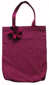 Cerise Polka Dot Print Tote Shopping Bag - Miss Pretty London UK Limited