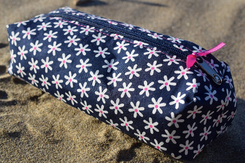 Navy Daisy Print Pencil Case