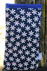 Navy Daisy Print Mobile Phone Sock Pouch