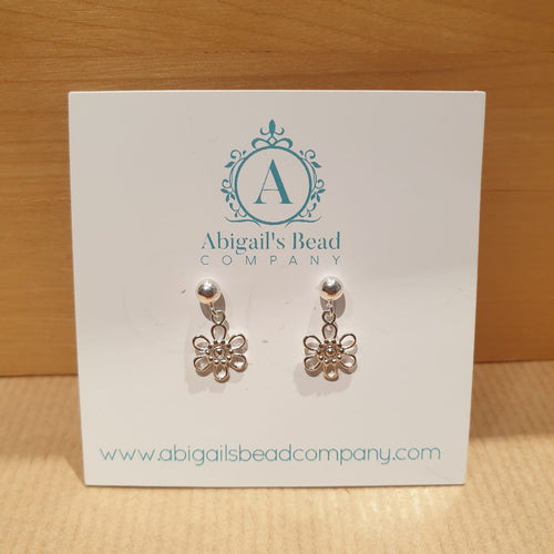 925 Daisy Charm Ball Stud Earrings - AE214