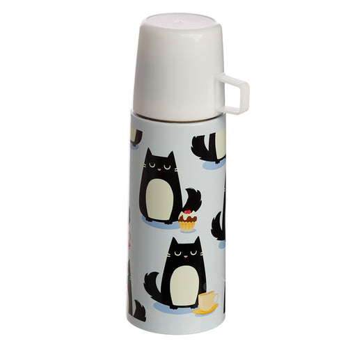Funky 350ml Flask - Feline Fine Cat Design - Miss Pretty London UK Limited