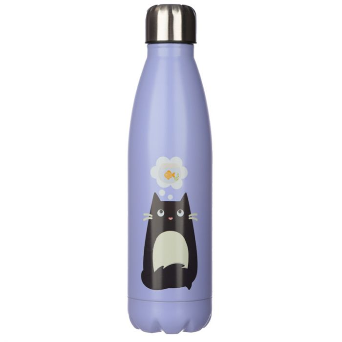Feline Fine Cat Reusable Stainless Steel Hot & Cold Thermal Insulated Drinks Bottle 500ml