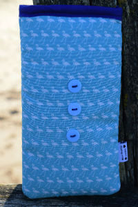 Aqua Blue Flamingo Print Mobile Phone Sock Pouch