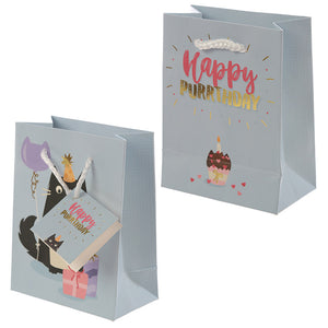 Feline Fine Happy Purrthday Cat Design Small Gift Bag