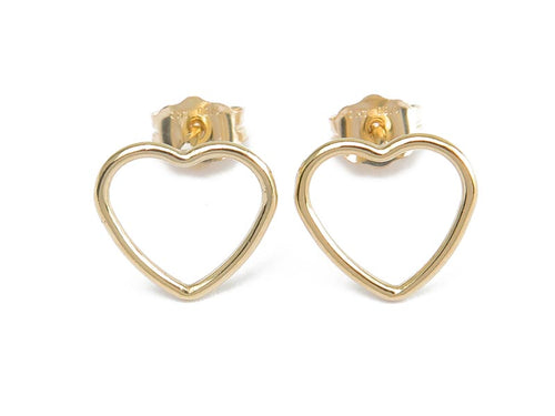 GOLD FILLED OPEN HEART EAR STUDS - MPL206 - Miss Pretty London UK Limited