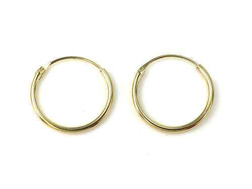 GOLD PLATED STERLING SILVER HOOPS 14MM