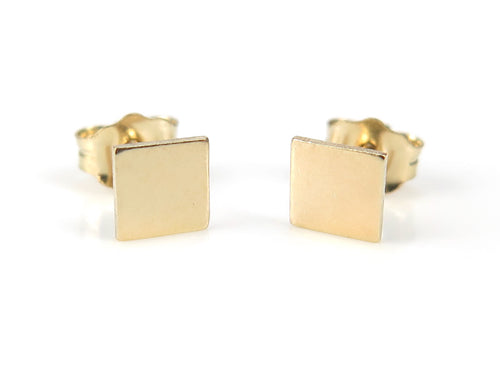 GOLD FILLED SQUARE EAR STUDS