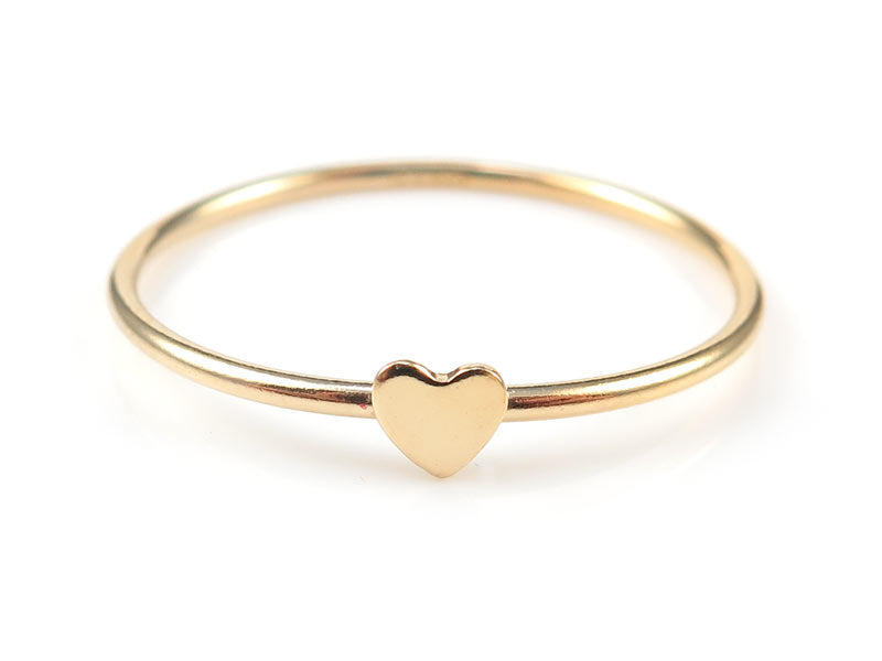 GOLD FILLED STACKING RING WITH HEART