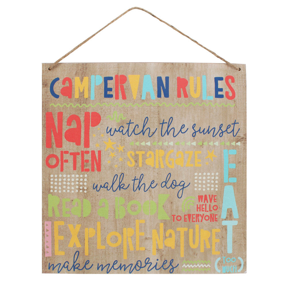 Campervan Rules Wooden Sign - Miss Pretty London UK Limited