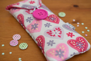 Pink and Purple Hearts Print Glasses Case