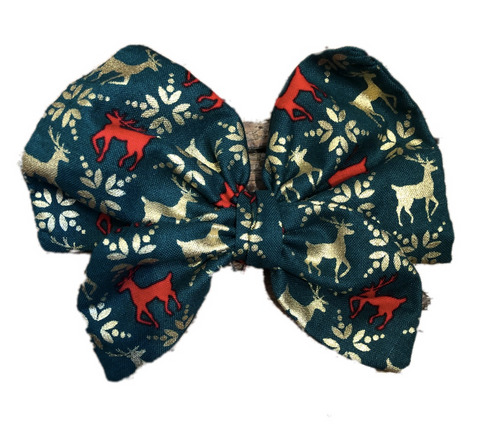 Gold Christmas Reindeer Print Cotton Hair Bow Clip