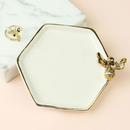 HEXAGONAL BEE TRINKET DISH - 24341