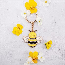 Happy Bee Enamel Keyring