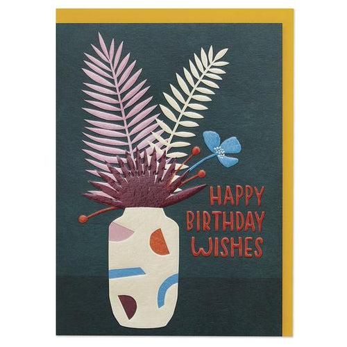 Happy Birthday Wishes' contemporary floral Birthday Greeting Card - RBL022 - Miss Pretty London UK Limited