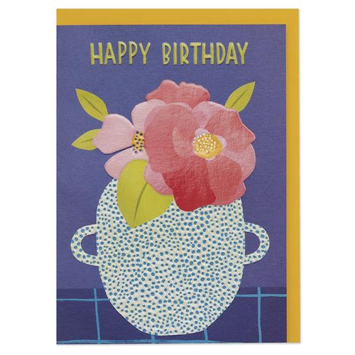 Happy Birthday' peony in contemporary vase Birthday Greeting Card - RBL025 - Miss Pretty London UK Limited