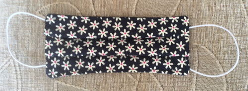 Navy Blue Daisy Print Face Mask