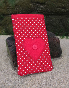 Small_Red_Polka_Dot_Print_Mobile_Phone_Sock_Pouch