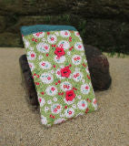 Green Cherry Blossom Print Mobile Phone Sock Pouch - Miss Pretty London UK Limited