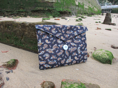 Navy Paisley Print Tablet Bag - Miss Pretty London UK Limited