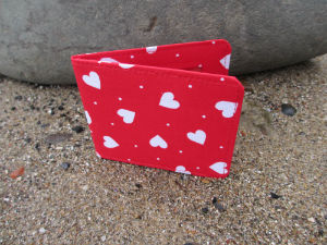 Light Red Hearts Print Card Wallet