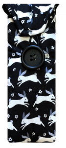 Black and White Rabbits Print Glasses Case