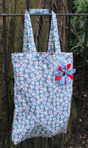 Blue Cherry Blossom Print Tote Shopping Bag - Miss Pretty London UK Limited