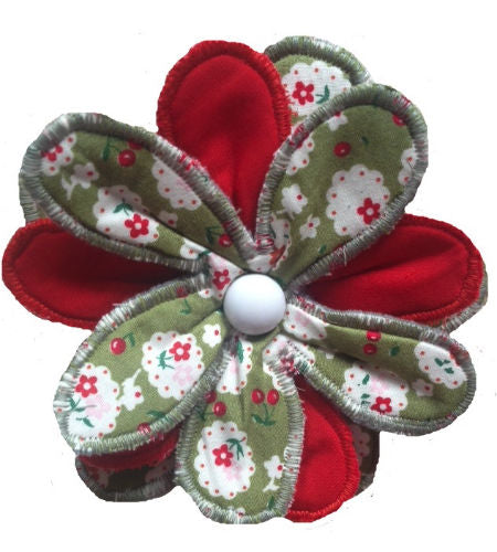 Green Cherry Blossom Print Flower Brooch - Miss Pretty London UK Limited