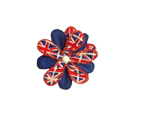 Union Flag Print Flower Brooch - Miss Pretty London UK Limited