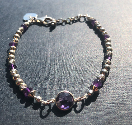Amethyst Connector & Sterling Silver 925 Bead Bracelet - Miss Pretty London UK Limited