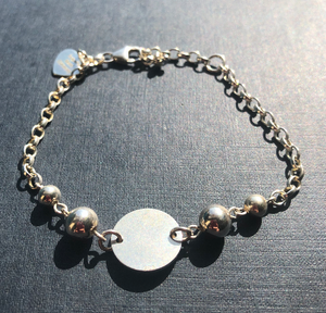 Labradorite and Sterling Silver 925 Disc Connector & Beaded Bracelet