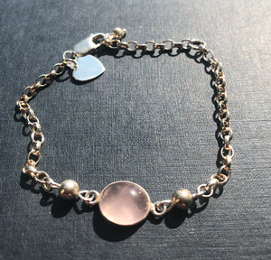 Rose Quartz Oval Connector & Sterling Silver 925 Bead Bracelet