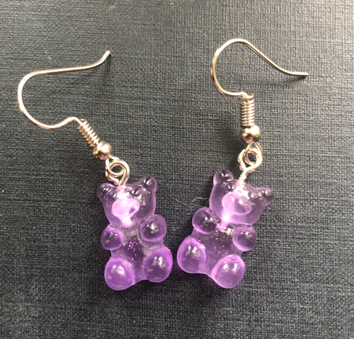 Handmade Purple Jelly Bear Earrings - E064