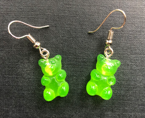 Handmade Green Jelly Bear Earrings - E060