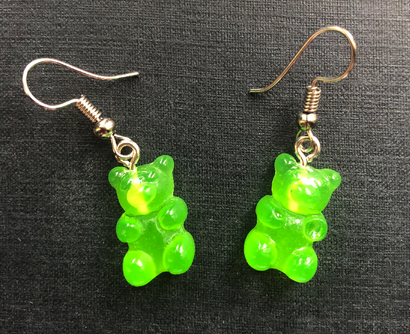 Handmade Green Jelly Bear Earrings - E060 - Miss Pretty London UK Limited