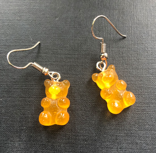 Handmade Orange Jelly Bear Earrings - E040