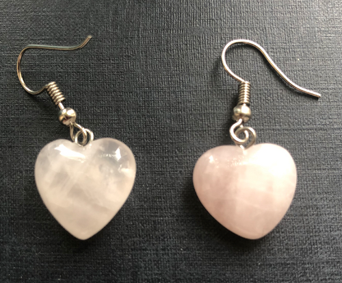 Handmade Rose Quartz Heart Earrings - E048