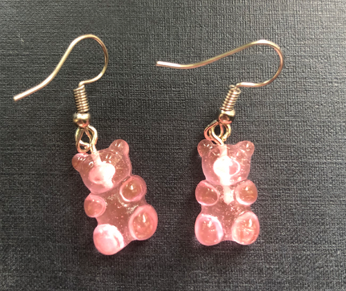 Handmade Pink Jelly Bear Earrings - E061
