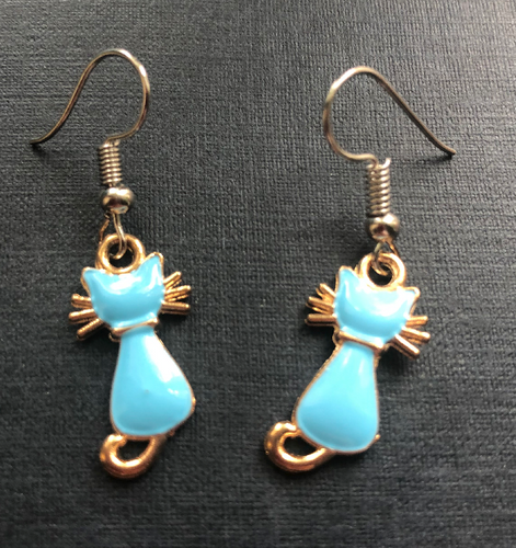 Handmade Pale Blue Cat Enamel Earrings