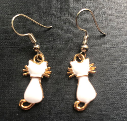 Handmade White Cat Enamel Earrings - E010