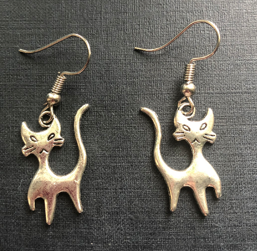 Handmade Silver Coloured Cat Metal Earrings - E009