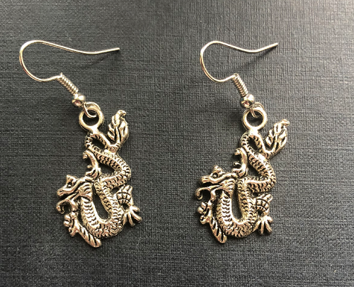 Handmade Dragon Metal Earrings - E032