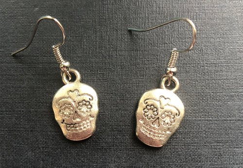 Handmade Sugar Skull Metal Earrings - E015