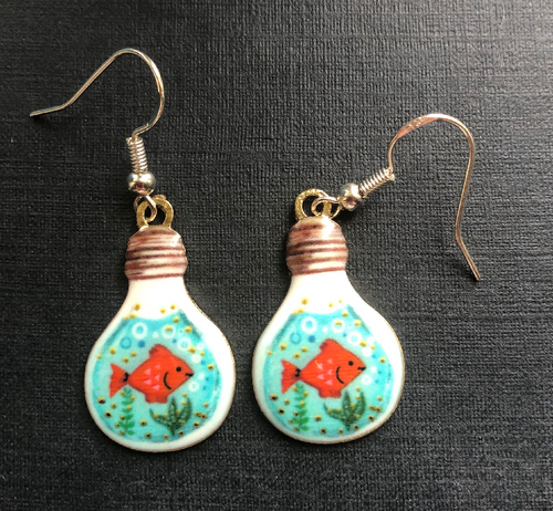Handmade Goldfish and Lightbulb Enamel Earrings - E039