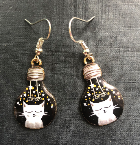 Handmade Black and White Cat and Lightbulb Enamel Earrings