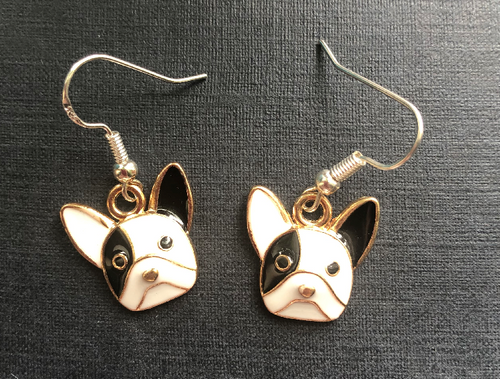 Handmade Black and White French Bulldog Enamel Earrings - E019