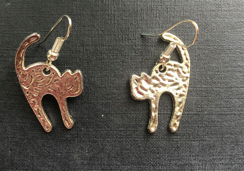 Handmade Silver Coloured Cat Hammered Metal Earrings - E050